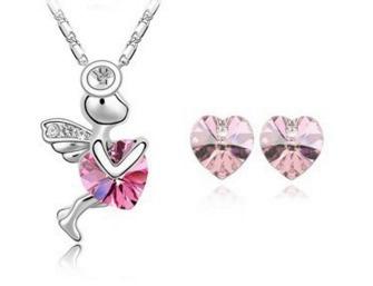 Dije Collar Y Aretes Cupido Cristal Swarov Elements Regalo