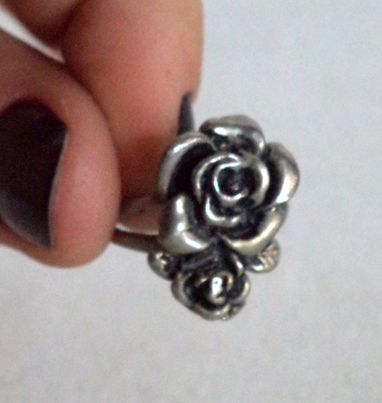 Anel Prata De Lei Flor Rosa Aro 14 - 04*