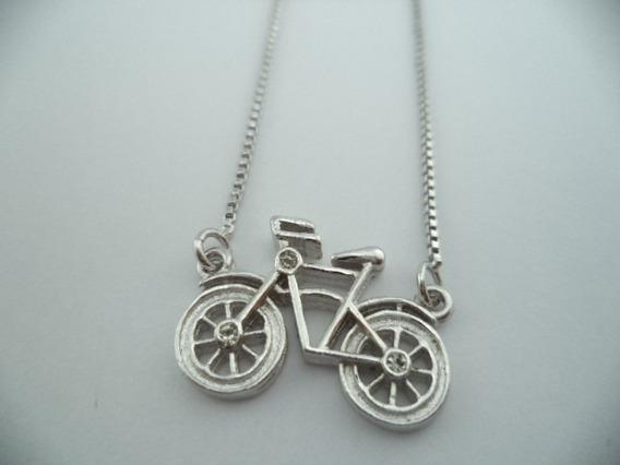 Corrente Pingente Bicicleta Banhada A Ródio