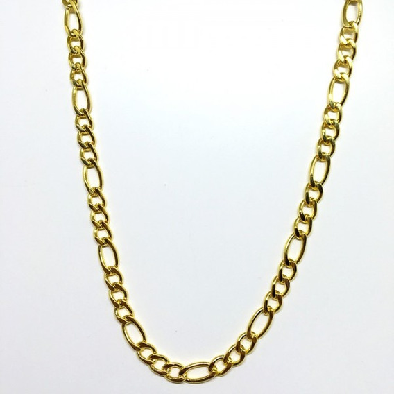 Corrente Masculina Dourada 70cm Banhada A Ouro