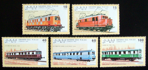 Sahara Trenes, Serie 5 Sellos 1992 Mint L6626