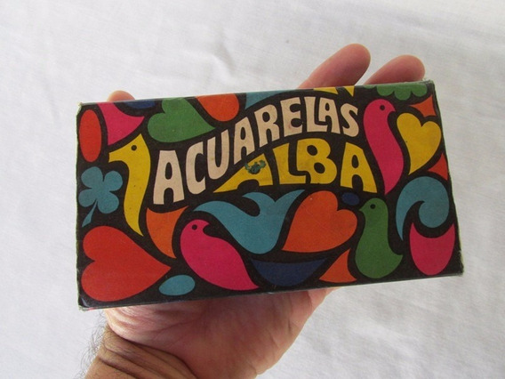 Antigua Caja De Acuarelas Alba, Carton, Buen Estado
