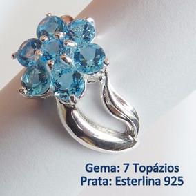 Anel Prata Solida 925 Com Garantia Topázio Sky Natural 7034