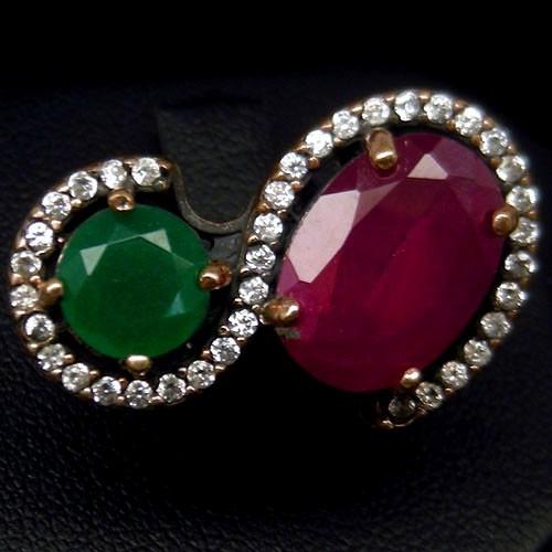Tw Anel Vintage Rubi E Esmeralda - Prata 925 E Bronze
