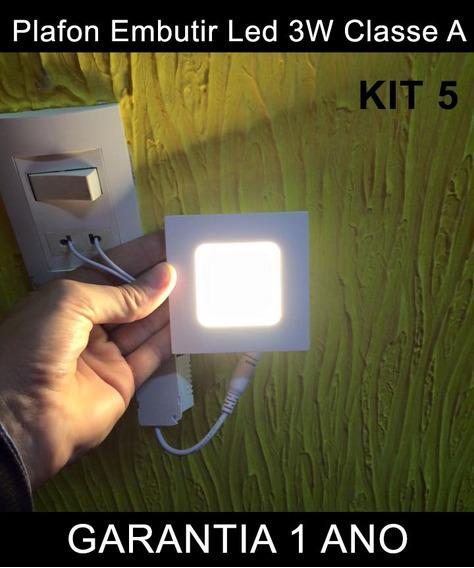 Luminária Painel Led Plafon 3w Branco Quente Quadrado Kit 5