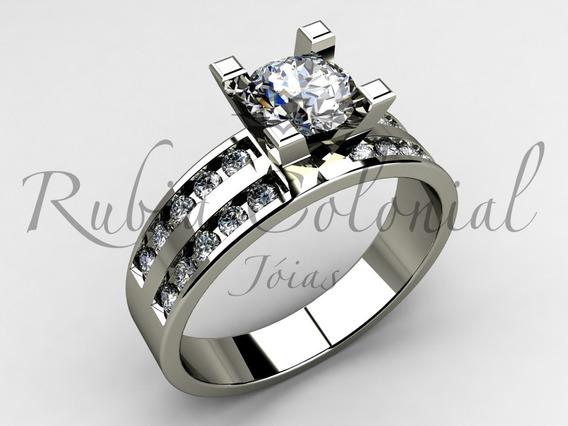 Anel Solitário Luxo Diamantes 90 Pontos