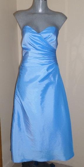 Vestido De Fiesta Azul Strapless Talla 28