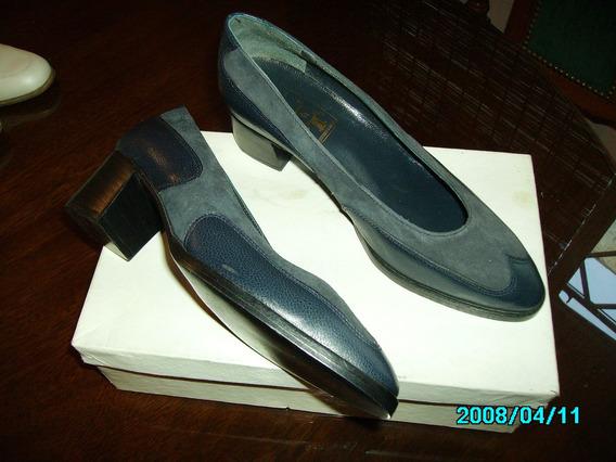 Zapato De Cuero Combinados Con Gamuza Nro 36 L&t