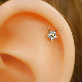 Piercing Florzinha De Tragus Cartilagem C/ Banho De Ouro 18k