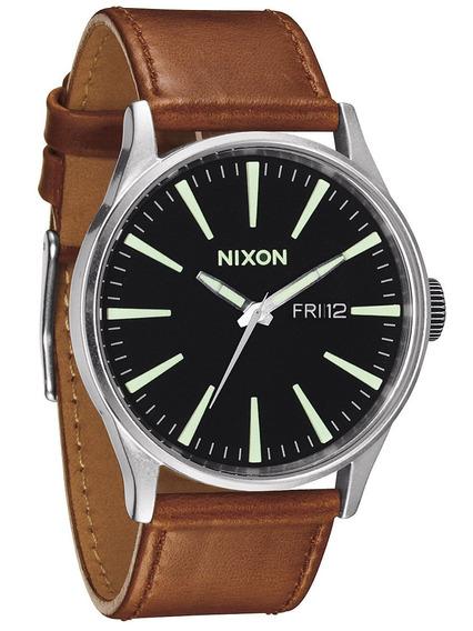 Reloj Nixon Sentry Piel Negro - Cafe A105-1037 Envio Gratis