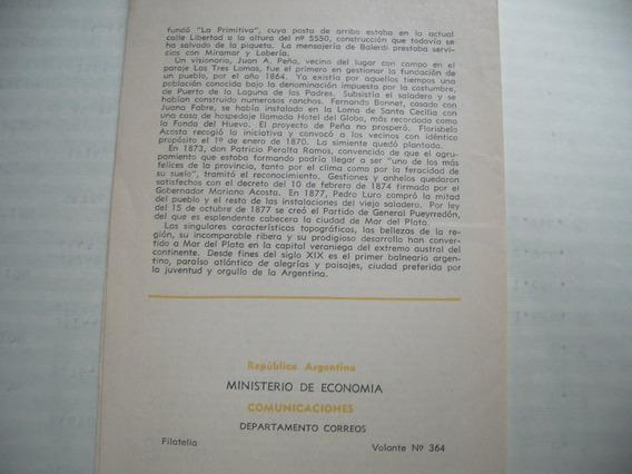 Centenario Fundación Ciudad Mar Del Plata, C/tarjeta