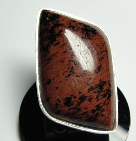 Anel Obsidiana Mexicana Lapidação Livre Em Prata 950
