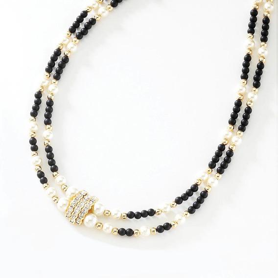 Collar Para Dama Perlas Y Baño Oro 18 Kilates Nice 316
