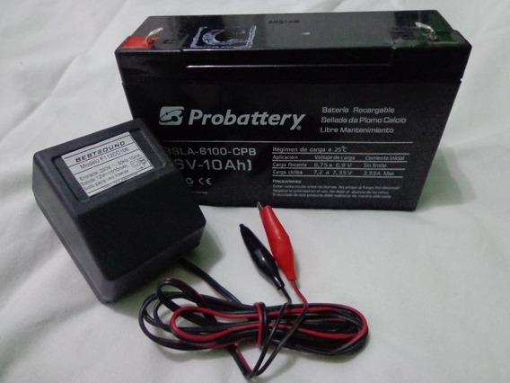 Bateria Gel 6v 10ah Ó 12v 7ah + Cargador Ideal Auto Niño