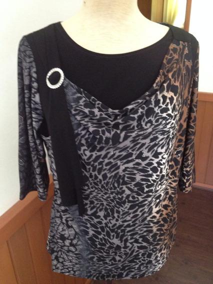 Blusa Em Malha - Lindo Detalhe Em Strass Na Frente (46)