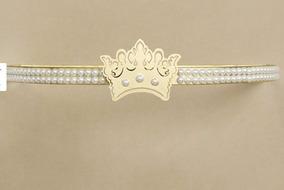 Dossel Coroa Decorado Realeza Quarto Pérolas Coroa Dourado