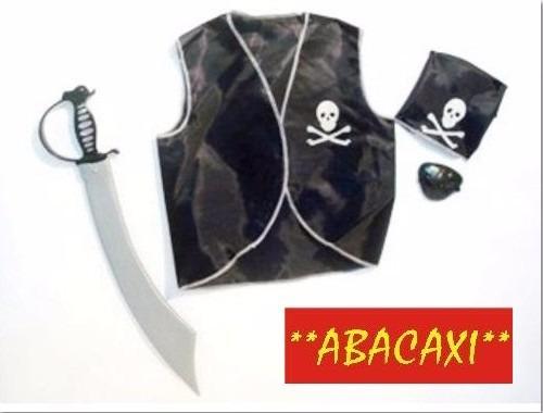 Disfraz Set De Pirata Niños Chaleco Parche Espada Halloween