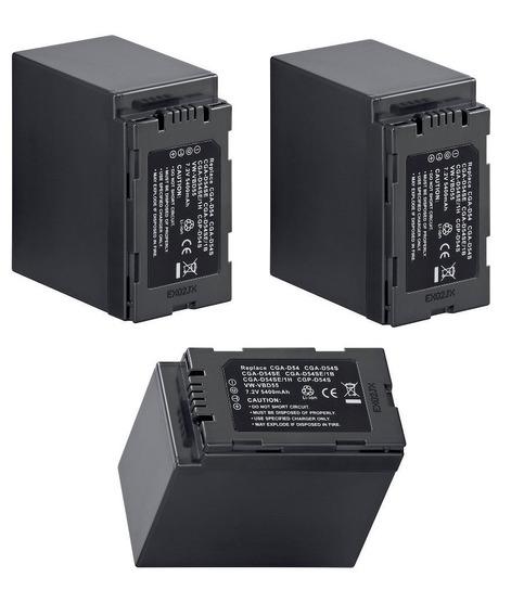 Lote De 3 Baterias Cga-d54 P/ Panasonic Ag-ac8 Ag-ac90 Dvc60