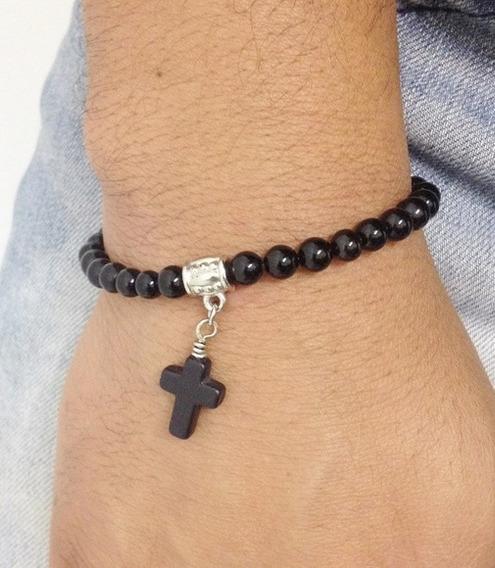 Pulseira Masculina Feminina Ônix Com Crucifixo Cruz