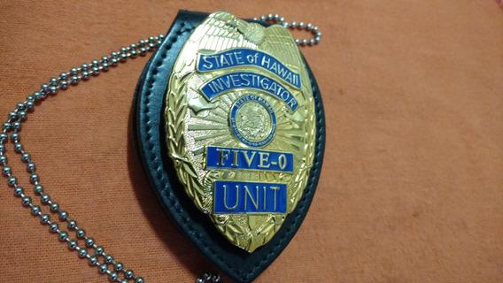 Placa Policia Hawaii Con Holder Cuero Y Cadena. Importados.
