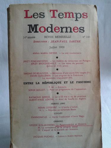 Imagen 1 de 4 de Les Temps Modernes Nº 149 1958 14º Anne J. P. Sartre Frances
