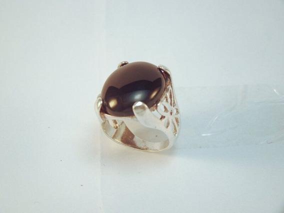 Anel Em Prata 925 Com Onix Design Flores