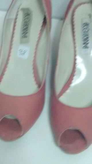Zapatos De Mujer 37 Rojos Satinado Tacos Chinos Usados