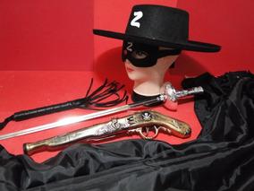 Fantasia Zorro Capa Chapeu Chicote Mascara Espada Garru