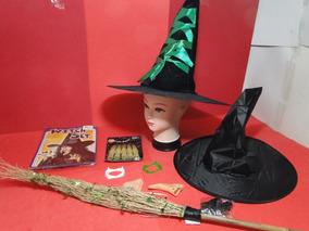 Kit Fantasia Dia Das Bruxas Halloween 02 Chapeus Vassoura