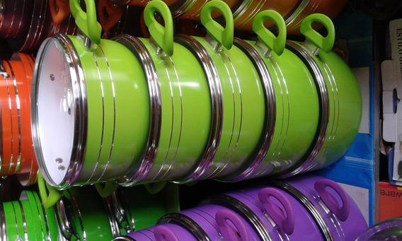 Jogo 5 Panelas Proteus Tampa Vidro Cerâmica Verde