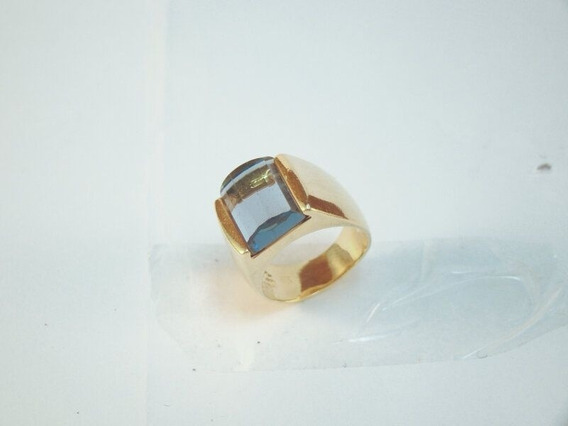 Anel Folheado A Ouro Com Pedra Azul Rommanel