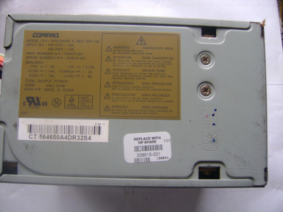 Fonte Atx 240w V Compaq 20 Pinos Sem/sata Model Dps-240eb 22