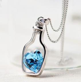 Lindo Pingente Com Cristal Safira Azul Coração Na Garrafa