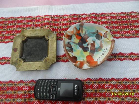 Lote De Antiguo Cenicero En Bronce Y Otro En Cerámica