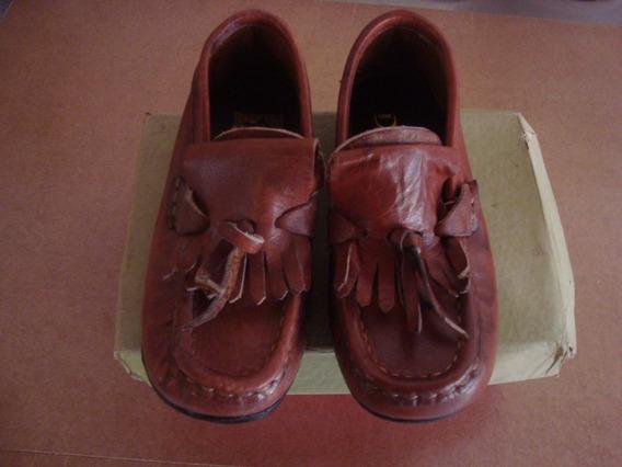 Par De Zapato Antiguos Sin Uso Nro 26 Marrón Militar Mocasin