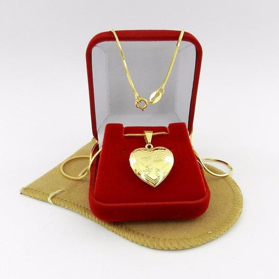 Corrente Feminina 50cm Relicario 2cm Folheado Ouro Cr219