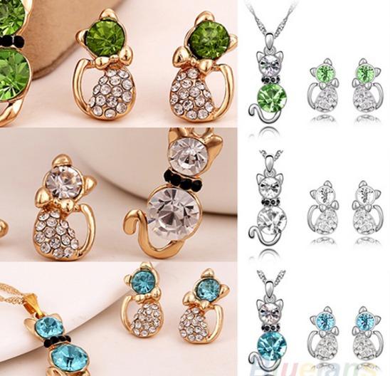 Lote 10 Set Collar Y Aretes Gatitos Cristales Envío Gratis