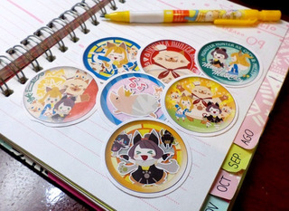 Set De 7 Stickers Circulares De Anime - Monster Hunter