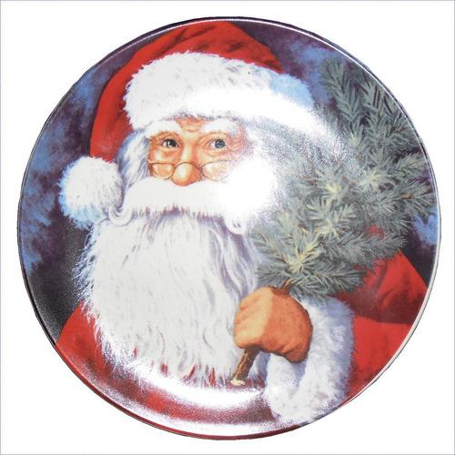 Platos Navideños 21cm Santa Nieve Trineo Gorro Navidad