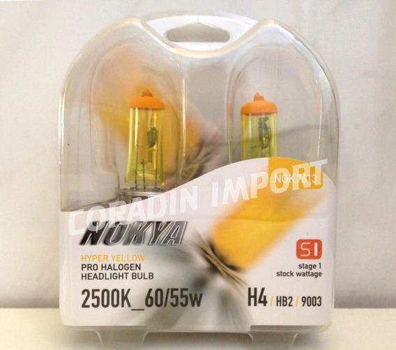 Lampada Nokya Hyper Yellow H4 Efeito Xenon Amarelo 2500k