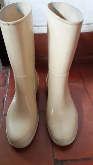 Botas Lluvia Cremas Con Taco 5 Cm. 38.san Isidro
