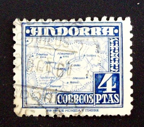 España, Andorra - Sello Sc. 48 Mapa 4 Ptas Usado L1911