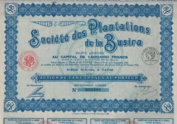 Apólice Congo Societe Des Plantations La Busira 1930 * C O L