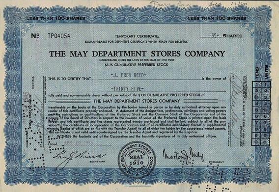 Apólice U S A The May Dept Stores Company 1946 Blue * C O L