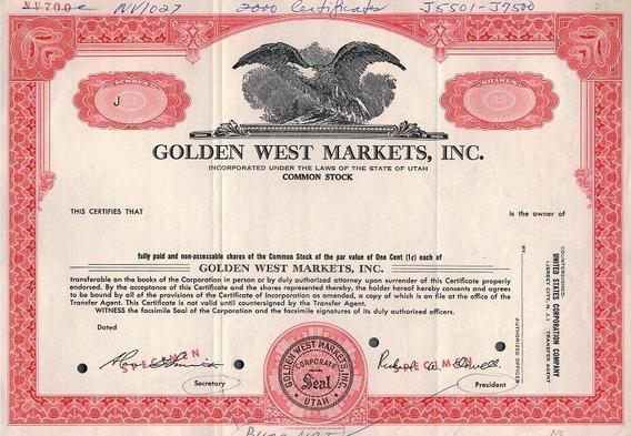 Apólice U S A Golden West Markets, Inc * C O L *