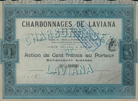 Apólice Espanha Charbonnages De Laviana 1907 * C O L *