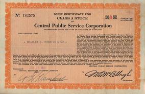 Apólice U S A Central Public Service Corporation 1931* C O L