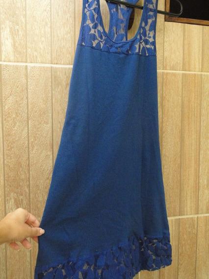 Vestido Azul Royal Com Detalhe Em Renda
