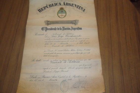 Original Nombramiento Militar Firmado Por Peron 1949