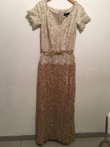 Vestido Sin Estrenar Tadashi Shoji De Encaje En Color Dorado